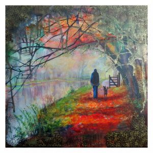 Handfinished canvas print, Autumn Walk