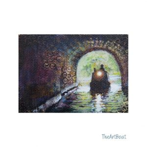 aceo original, boat entering tunnel