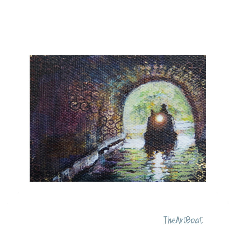 aceo original, boat entering tunnel