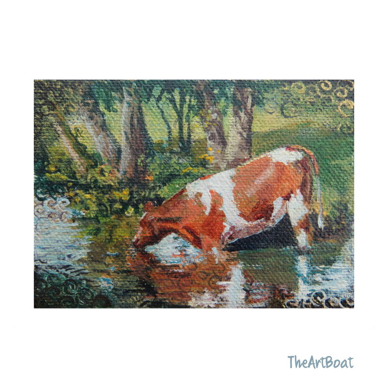 Paddling Cow Aceo,