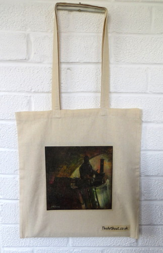 Cotton Canvas bag, coalboat print