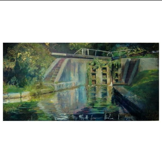 Lockgates by waterways artist