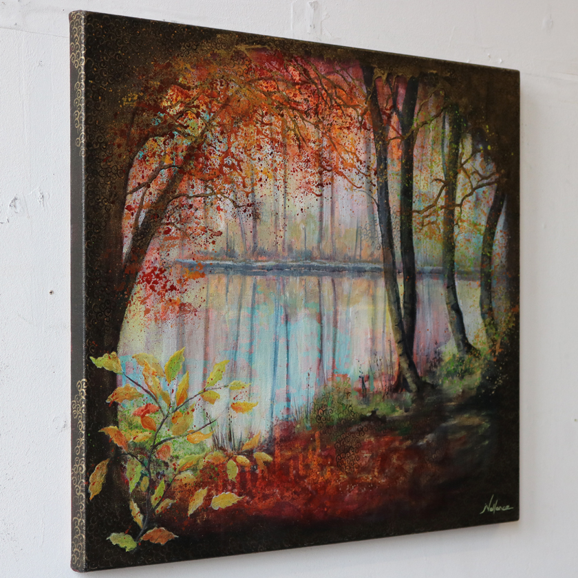 canal painting, autumn trees, fall trees
