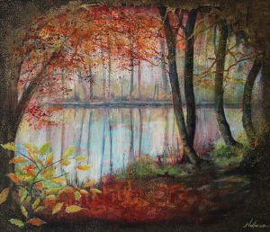 Canal painting by Jan Vallance of Autumn trees