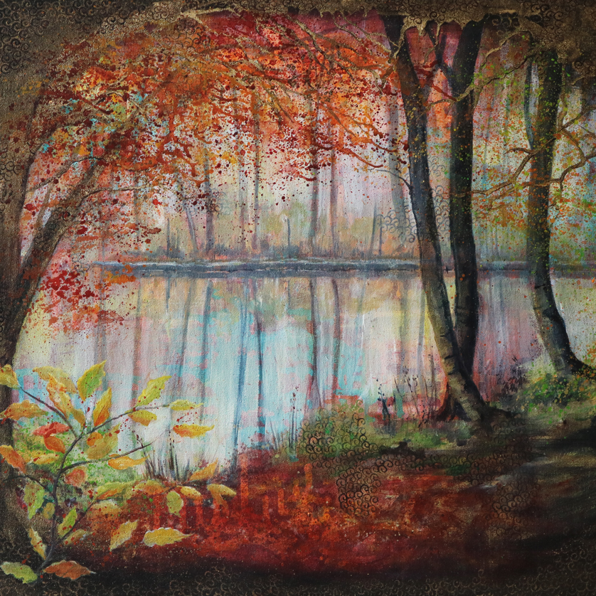 English canal painting of Fall trees