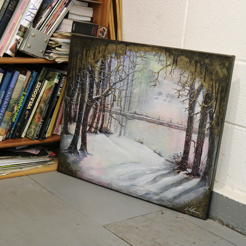 Winter trees by the canal, painting by Jan Vallance