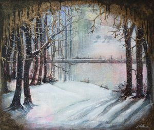Painting of winter trees in snow by waterside,