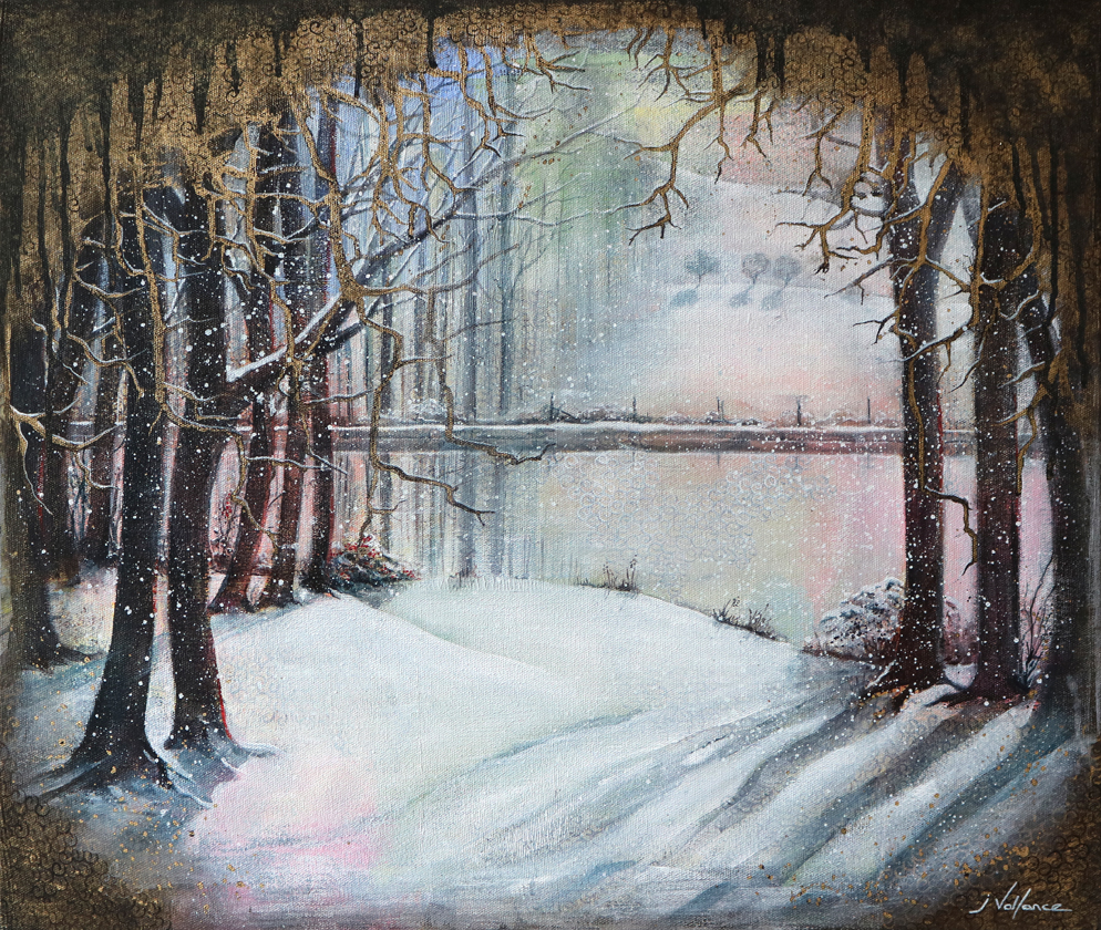Waterside winter trees in snow painting,