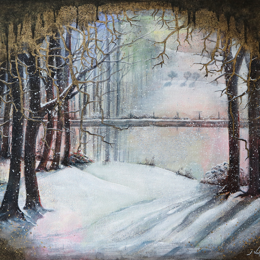 winter trees painting acrylic on canvas
